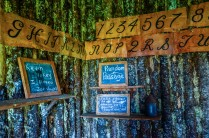 Alphabet made of tree bark.