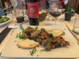 Lamb and Rosso di Montepulciano from L'angolo restaurant in Acquaviva